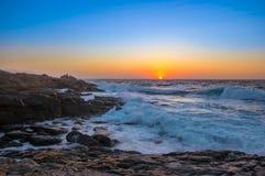 Zeegezichtzonsondergang Kreta, Griekenland Stock Afbeelding