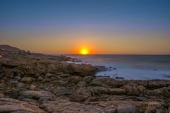 Zeegezichtzonsondergang Kreta, Griekenland Royalty-vrije Stock Afbeelding