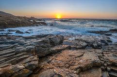 Zeegezichtzonsopgang Kreta, Griekenland Stock Afbeeldingen