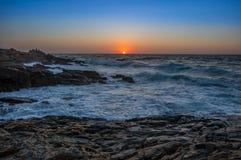 Zeegezichtzonsopgang Kreta, Griekenland Royalty-vrije Stock Foto's