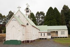 Exterior view of lovely old weatherboard Catholic church. Zeehan, Tasmania, Australia, May 3, 2012: Exterior view of lovely old weatherboard Catholic church in stock images