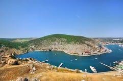Zeehaven Balaklava de Krim, in de herfst Royalty-vrije Stock Afbeeldingen