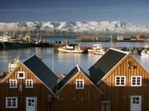 Zeehaven in IJsland. Stock Afbeeldingen