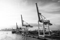 Zeehaven, terminal of dok Maritieme containerhaven met vrachtschip, kranen Vracht, het verschepen, levering, logistiek Royalty-vrije Stock Foto's