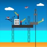 Zeehefboom op installatie, vectorillustratie Stock Foto's