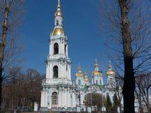 Zeekathedraal nikolo-Epiphany in St. Petersburg, Rusland stock afbeeldingen