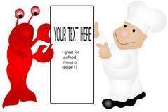 Zeekreeft en Chef-kok Royalty-vrije Stock Afbeeldingen