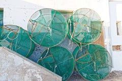 Zeekreeftpotten in de visserij van dorp Tenerife Royalty-vrije Stock Afbeelding