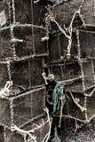 Zeekreeftpotten op Havenquayside worden gestapeld -4 die royalty-vrije stock foto