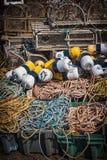 Zeekreeftvallen, vlotters en kabel Royalty-vrije Stock Afbeeldingen