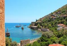 Zeekust, Alanya, Turkije royalty-vrije stock afbeelding