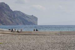 Zeekust in Funchal stock foto