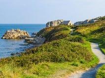 Zeekust op het Guernsey-eiland stock fotografie