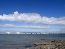 Zeeland bridge. The Zeeland bridge is the longest bridge in The Netherlands with a length of 5022 mtr Royalty Free Stock Images