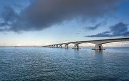 Zeeland Bridge. The Zeeland Bridge is the longest bridge in the Netherlands. The bridge spans the Oosterschelde estuary. It connects the islands of Schouwen Royalty Free Stock Photography