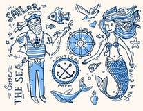 Zeeman en meermin royalty-vrije illustratie