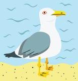 Zeemeeuw bij het Strand royalty-vrije illustratie