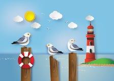 Zeemeeuw die zich op een houten post bevinden vector illustratie