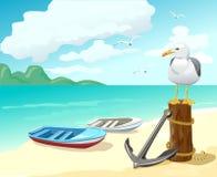 Zeemeeuw en boten op het strand stock illustratie