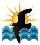 Zeemeeuw, het overzees, de zon Royalty-vrije Stock Afbeelding