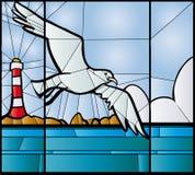 Zeemeeuwgebrandschilderd glas Stock Afbeelding