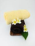 Zeep, handdoek en bloemensneeuwklokjes Stock Afbeelding