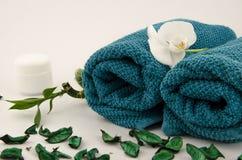 Zeep, handdoek en bloemensneeuwklokjes royalty-vrije stock foto's