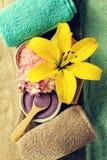 Zeep, handdoek en bloemensneeuwklokjes Hoogste mening van mooie Kuuroordproducten met plaats voor t stock foto's
