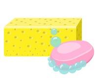 Zeep, Spons en Schuimbellen schoonmakende levering Stock Foto