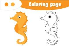 Zeepaardje in beeldverhaalstijl, kleurende pagina, onderwijsdocument spel voor de ontwikkeling van kinderen, jonge geitjes peuter royalty-vrije illustratie