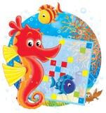 Zeepaardje en kruiswoordraadsel stock afbeelding