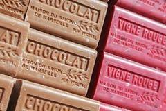 Zeepbars met verschillende kleuren Stock Foto