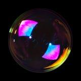 Zeepbel op zwarte Stock Afbeelding