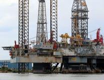 Zeeplatform in aanbouw Stock Foto