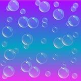 Zeepschuim op gradiëntachtergrond Het realistische water borrelt 3d Koel regenboog gekleurd vloeibaar schuim met shampoobellen Sc stock illustratie