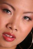 Zeer dicht Aziatisch gezicht met hoepel Stock Afbeelding