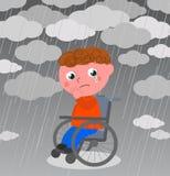Zeer droevige jongen in rolstoel vector Stock Fotografie