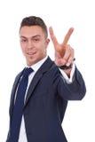 Zeer gelukkige succesvolle gesturing zakenman stock foto