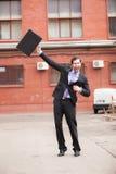 Zeer gelukkige zakenman royalty-vrije stock afbeelding