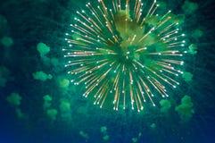 Zeer goedkoop vuurwerk over de stad, de groene sinaasappel en het blauw vector illustratie