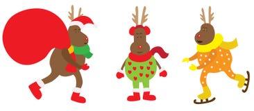 Zeer grappige het rendier van Kerstmis. Royalty-vrije Stock Fotografie
