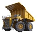 Zeer grote gele stortplaats-lichaam vrachtwagen op wit 3D Illustratie stock illustratie