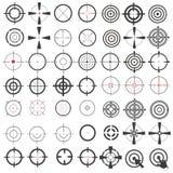 Zeer grote inzameling van pictogrammen, symbolen, wapensgezichten, doel, sluipschutterwerkingsgebied Isolatie op een witte achter vector illustratie