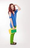 Zeer kleurrijk leuk studentenmeisje. Stock Afbeelding