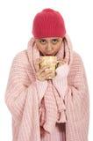 Zeer koude vrouw Stock Foto