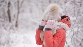 Zeer leuk meisje die in een de winterpark schreeuwen De scheuren stromen van zijn ogen stock footage