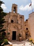 Zeer oude Christelijke kerk bij de Arabische gebieden van Burqin in Palestin Royalty-vrije Stock Afbeeldingen