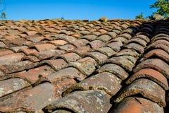 Zeer oude kleitegels van een dak met mos stock foto