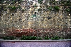 Zeer Oude Muurachtergrond, Textuur Steenbakstenen behang stock foto