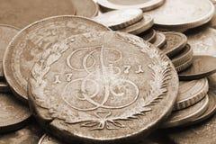 Zeer oude Russische muntstukken Stock Foto